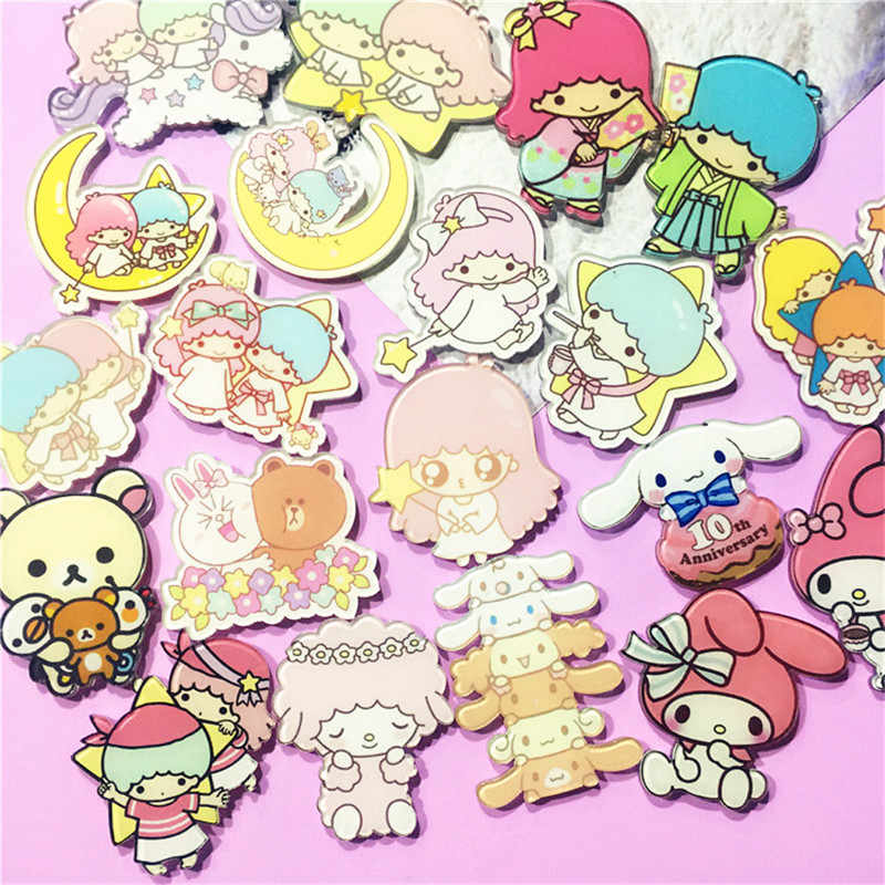 Pecinta Pin Kartun Gemini Melody Bros dan Pin Cute Kerah Pin Tombol Pasangan Lencana BTS Aksesoris untuk Siswa Perempuan Perhiasan