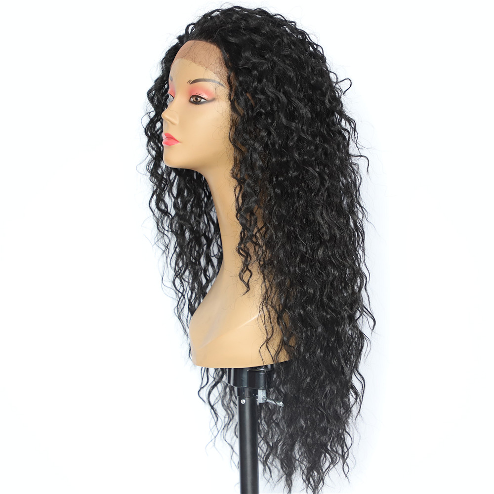 Image 3 - BeautyTown Kinky Curly Type Futura Heat Resistant Hair Black Color Women Daily Makeup Synthetic Lace Front Party Wigs-in Synthetic Lace Wigs from Hair Extensions & Wigs
