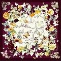 Низкая цена, Люксовый бренд 100% Шелка Саржевого Квадратный Шарф, шарфы и шали, шарфы женщины шелковые шарфы, подлинная Шелк, Фуляры Soie, cachecol