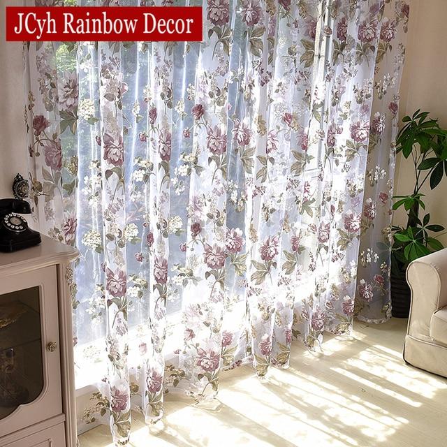 Blumen Tüll Vorhänge Für Wohnzimmer Lila Gardinen Für Kinder Schlafzimmer  Tür Kurz Küche Fenster Vorhänge Kinder