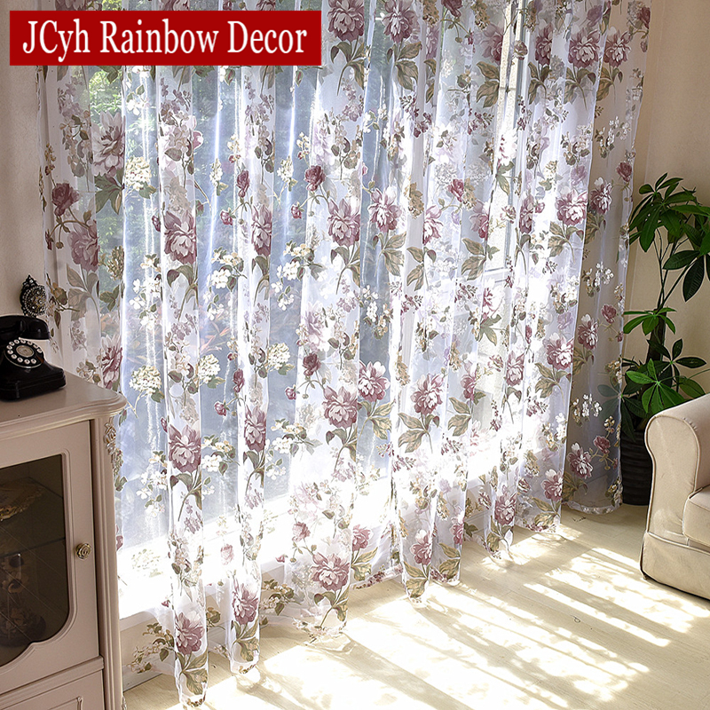 Floral Tulle Curtains For Living Room Purple Sheer