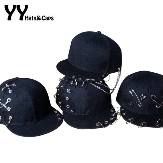 buy popular 2222d 078f2 Kids Fashion Metal Ring Iron Tassel Rivet Baseball Caps Snapback Adjustable  Casual Punk Rock Style Chain Hip Hop Hat Boy YY17052