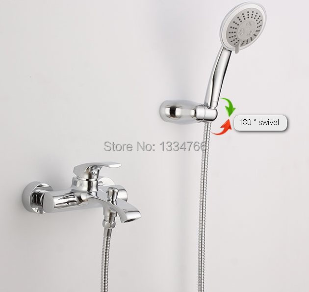 Wall Mounted Tub Faucets Exposed Bath Shower Set Bathroom Mixer