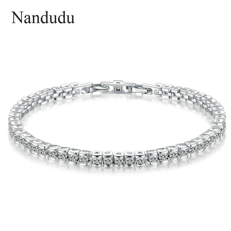 Nandudu New Tennis Crystal Bracelet White Gold Color Female Women Girl Bracelets Fashion Jewelry Gift B1012