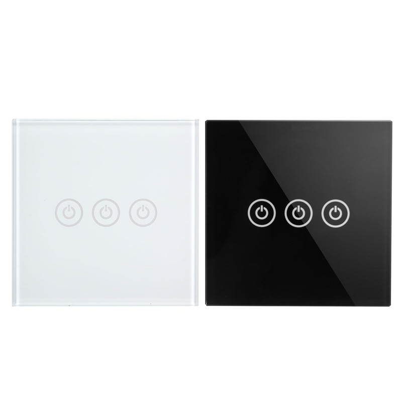 1 Way 3 Gang Crystal Glass Panel Smart Touch Light Wall Switch Remote Controller White/Black AC 100-250V 1 way 1 gang crystal glass panel smart touch light wall switch remote controller white black gold ac110v 240v