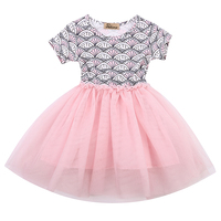 1 6Y Baby Kids Girl Dress Shell Floral Dot Print Lace Tulle Party Formal Dresses 2017