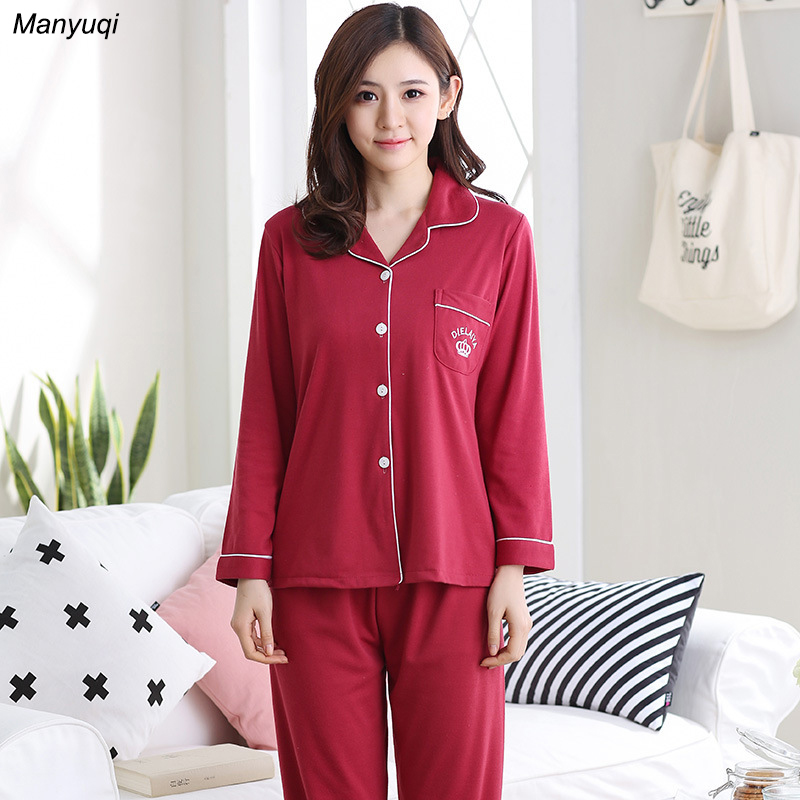 Autumn winter women   pajamas   solid long sleeve shirt night and long pants indoor clothing knitted cotton   pajamas     set   female