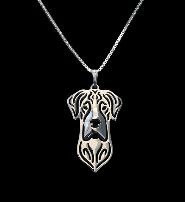 Hot Sale 1PC Natural Eared Great Dane Necklace 3D Hollow font b Animal b font Lover