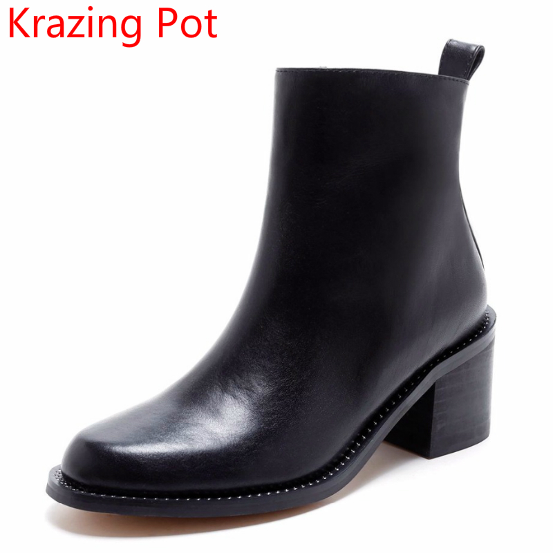 2018 Genuine Leather Superstar Rivets Round Toe Motorcycle Boots Women High Heels Solid Keep Warm Zipper Women Ankle Boots L66 abdul qadir riffat n malik and tahira ahmed impacts of human activities on streams of sialkot pakistan