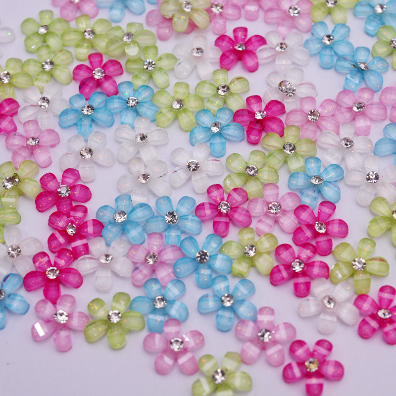 Mix color 10mm cute resin flower with rhinestone flatback cabochon for DIY phone, nail art decoration