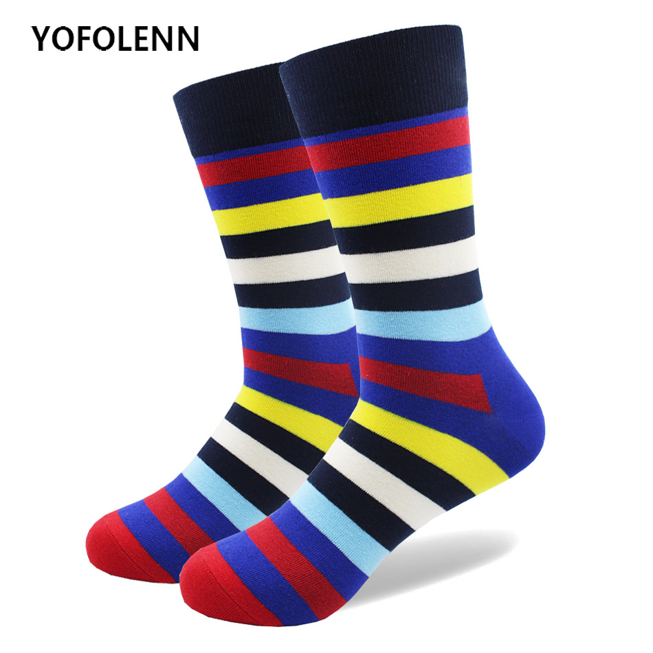 1 Pair Fashion Colorful Striped Men Socks High Quality Long Crew Combed Cotton Happy Funny Stripe Socks for Men Cool Harajuku