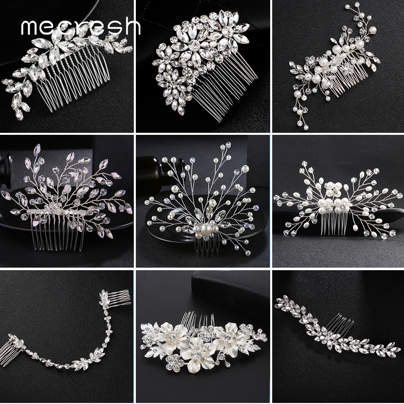 Mecresh Jewelry Hair-Accessories Bride-Hair-Comb Pearls Crystal Handmade Wedding FS256