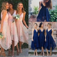 2018 New Bridesmaid Dresses Tea Length Pink Navy Blue Lace Irregular Hem V Neck Maid of Honor Country Party Guest Real Image
