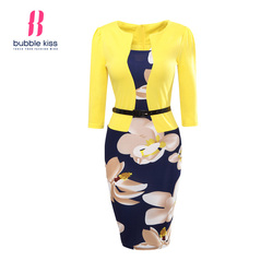 Office dress women summer bodycon sexy casual print plus size floral pencil fake two piece belt.jpg 250x250