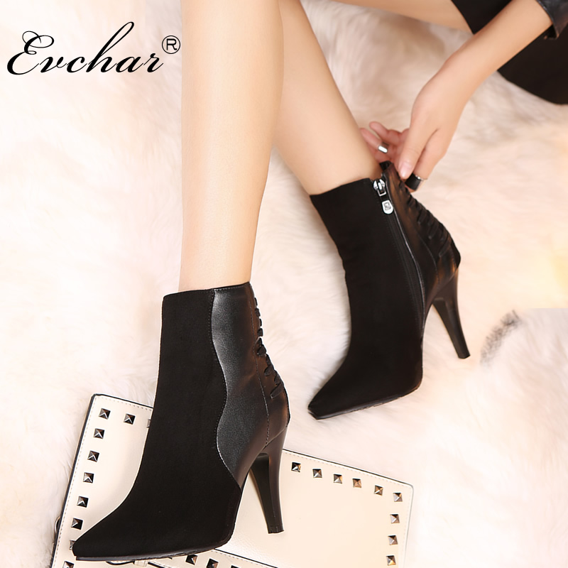 Sexy Women spike Boots Zip think High heels Boots Lady Stiletto Pointed toe Ankle martin Boots Martin Boot Black Size 32-48 sexy women boots solid flock suede zip high heels boots lady stiletto pointed toe ankle boots martin boots high heels s17
