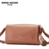 EMINI HOUSE Fashion Flap Bag Genuine Leather Tassel Women Messenger Bags Lady Shoulder Bags Luxury Brand