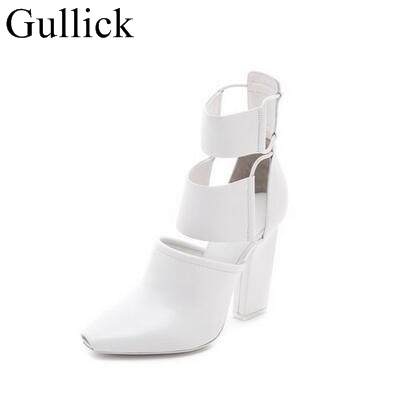 Sexy Peep Toe Chunky Heels Ankle Boots White Black Leather Cut-out Thick Heel Gladiator Sandal Boots For Women Dress Shoes
