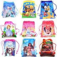 7f17f83a6b0 Bevroren Cars Minnie Mickey Mouse Winnie de Pooh Disney Prinses Sofia Moana  Niet-geweven Koord Rugzak boodschappentas
