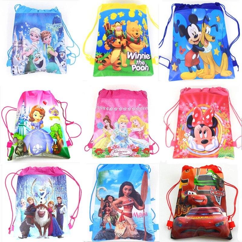 Frozen Cars Minnie Mickey Mouse Winnie the Pooh Disney Princess Sofia Moana Non-woven Fabrics Drawstring Backpack Shopping bag