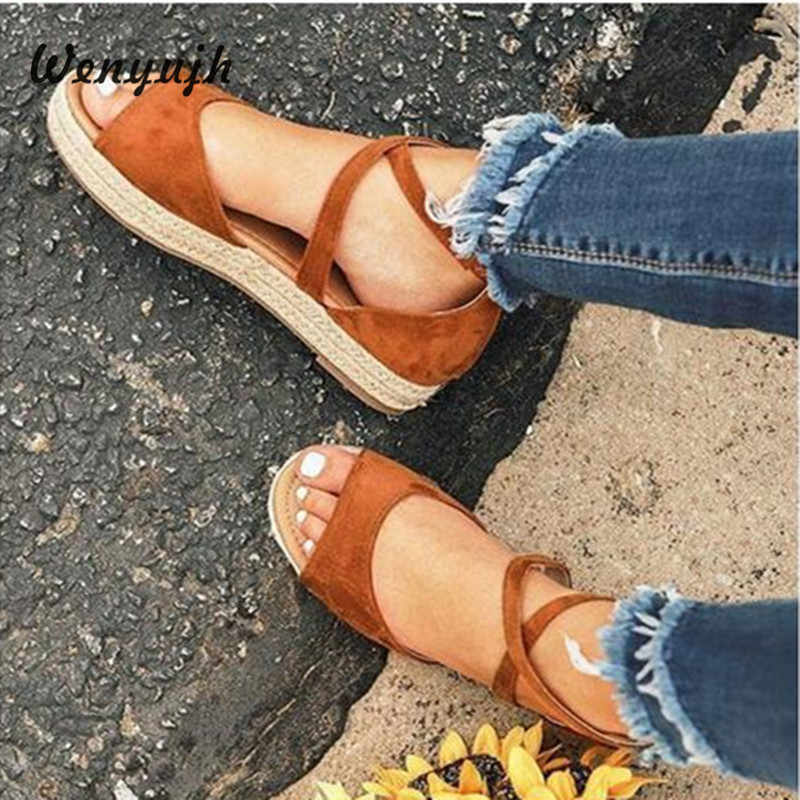 WENYUJH Roman Sandals Womens Sandals Peep Toe Buckle Design Flat Shoes Summer Beach Ladies Shoes Sandalias Mujer 2019 New