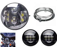 80W 7 Headlight With DRL 7inch Round LED Hi Low Beam Car Head Lamp For Harley