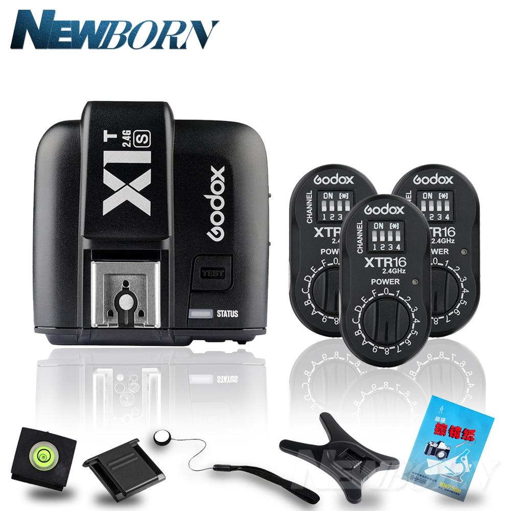 Godox X1T-S TTL HSS 2.4G Flash Transmitter +3*XTR-16 USB Receiver Kit For Sony Camera Godox AD180 AD360 AD360II godox x1t s ttl hss 2 4g flash transmitter 2 xtr 16 usb receiver kit for sony camera godox ad180 ad360 ad360ii