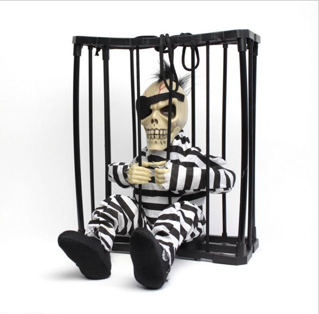 Toys Electric Plush Terror Scary Talking Cage Ghost Skeleton Festive Gifts Desktop Decoration Free Shipping