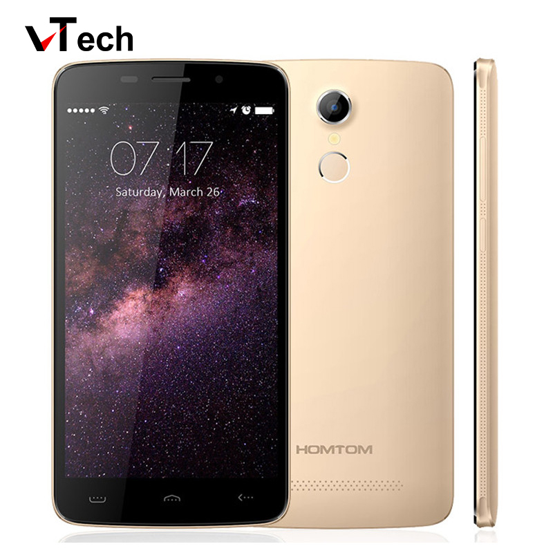 "Original 5.5"" HD HOMTOM HT17 Mobile Phone Android 6.0 Smartphone 1GB RAM+8GB ROM Fingerprint Cellphone MT6737 Quad-Core 4G LTE"