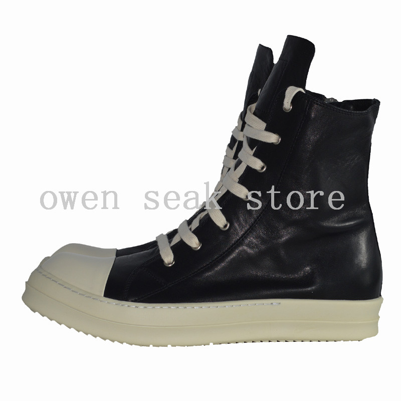 Casual Superior Con De Zapatos Alta Seak Lujo Genuino Botas blanco Cordones Cuero Owen Hombres Botines Zapatillas Grandes Plano Blanco Negro XqgfApw0