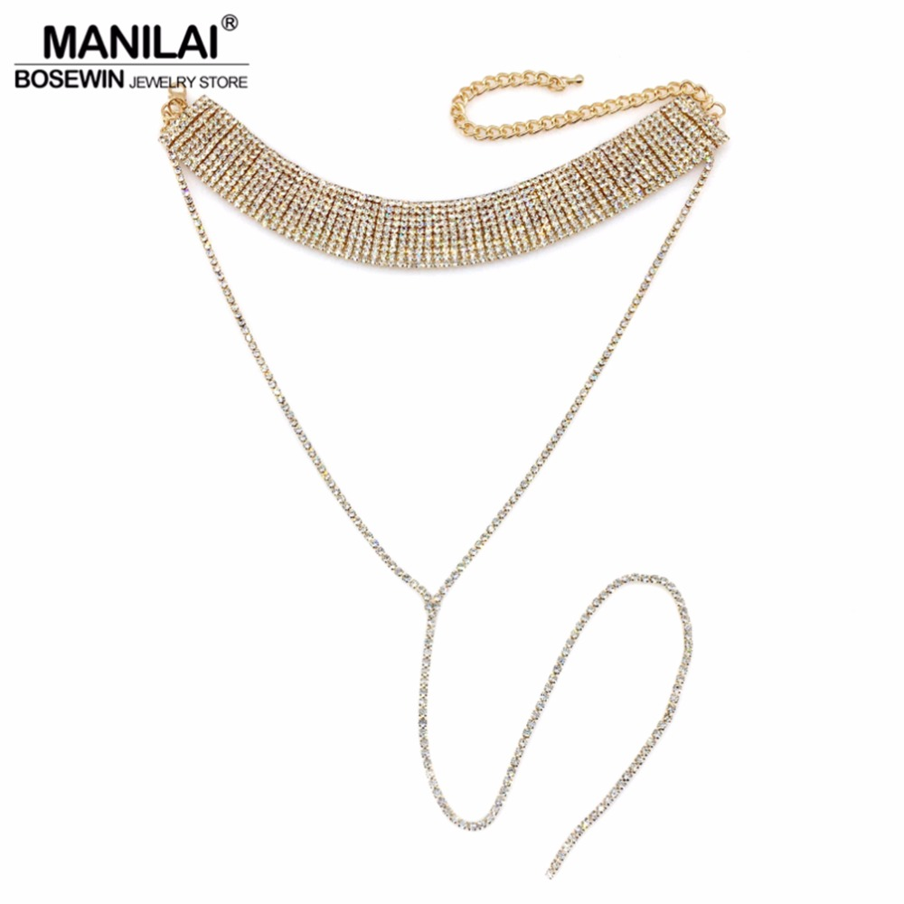 MANILAI Fashion Rhinestones Choker Statement Necklace Women Luxury Crystal Chokers Necklaces Maxi Collar Torques Accessories