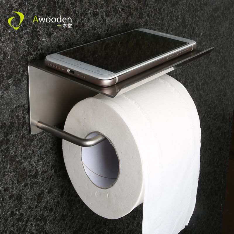 Awooden Toilet Paper Holder with Tissue Box Shelf WC Roll Towel Metal Bathroom Accessories