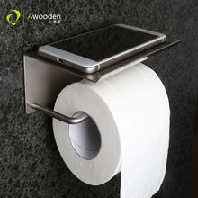 Awooden Toilet Paper Holder with Tissue Box Shelf WC Toilet Roll Paper Towel Metal Bathroom Accessories цена 2017