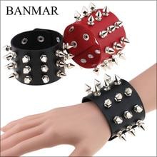 BANMAR Unique Three Row Cuspidal Spikes Rivet Stud Wide Cuff Leather Punk Gothic Rock Unisex Bangle Bracelet men jewelry