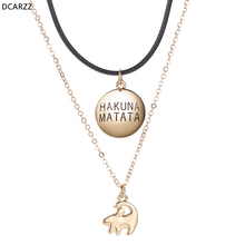 Lion King Simba Necklace Leather Rope Gold Chain Layers Necklaces Kids Women Girls Cartoon Jewelry Vintage Hakuna Matata Pendant