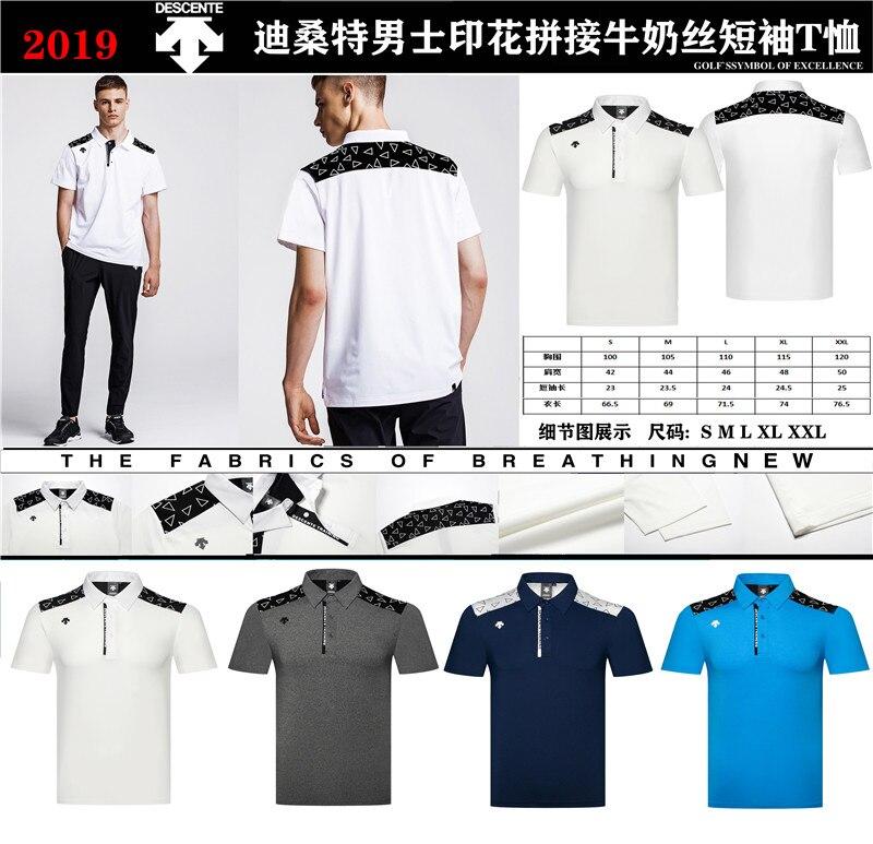 A 2019 hommes vêtements de sport à manches courtes DESCENTE Golf T-shirt 4 couleurs Golf vêtements S-XXL dans le choix loisirs Golf chemise livraison gratuite