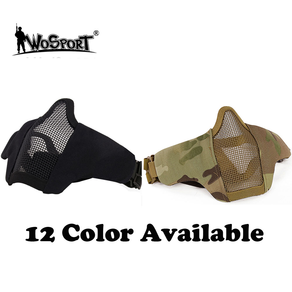 WoSporT Tactical Airsoft Steel Mesh Half Mask For CS Paintball Hunting Outdoor Bicycle Riding