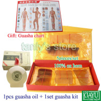 wholesale & retail Traditional Acupuncture Massage tool GuaSha beauty face kit ox horn 1set guasha kit+1pcs gua sha oil