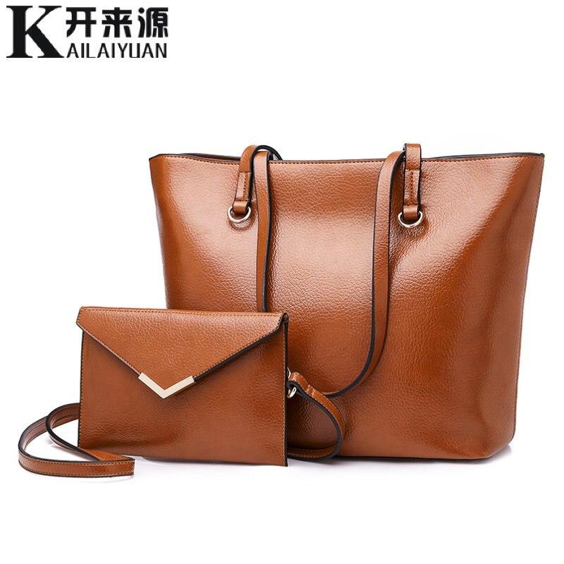 KLY 100% Genuine leather Women handbags 2019 New European fashion ladies handbags simple wild shoulder bag Detachable double bag