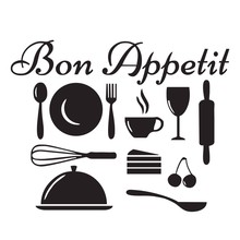 Bon Appetit French Wall Sticker Kitchenware Wall Decal Kitchen Home Decor Vinyl Waterproof Removable DIY Stickers