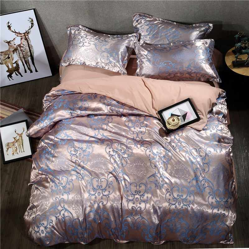Europe Style Satin Jacquard Bedding Sets Bed Linen Pillowcase Duvet Cover Set Twin Queen Size 4pcs Luxury Satin Bedding Sets