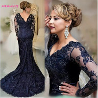 New 2019 Navy Mermaid Mother's Dresses Plus Size Lace Mother Of the Bride Dresses Long Sleeves Formal Evening Gown with Beaded