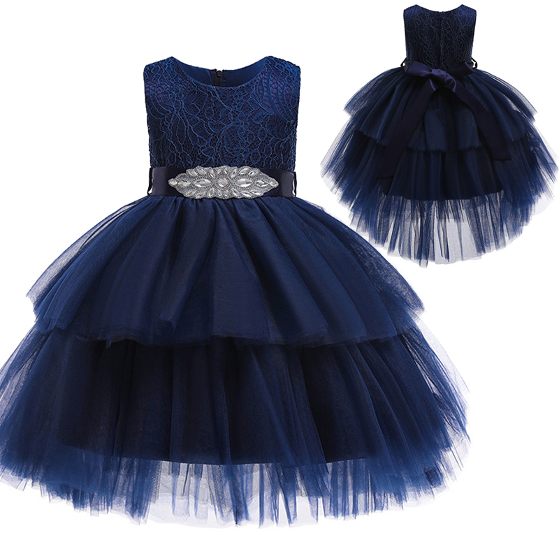 Flower Girl Princess Birthday Party Performing High-end Dress Girl Graduation Banquet First Lace Pompon Dress Vestidos De Fiesta