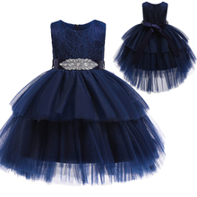 Robe danniversaire de princesse pour filles, robe de princesse, haut de gamme, en dentelle, Pompon, pour le Banquet de remise des diplômes