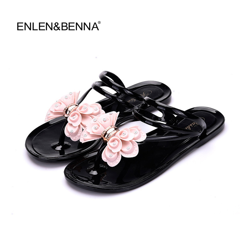 Hot 2017 Fashion Woman Flip Flops Summer Shoes Cool Beach Crystal big bow flat sandals Brand jelly shoes sandals girls size36-40 2017 fashion melissa jelly rhinestones flip flops bow glitter sandals women stransparent flat single shoes
