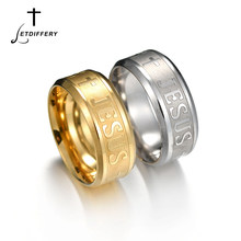Letdiffery Catholic Blessing Jesus Cross Ring Stainless Steel Religious Christian Ring For Lover's Gift(China)