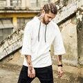 2017 moda hiphop homens estendido zíper lateral dourada dos homens Curta mangas t-shirt de algodão sólidos tops hip hop dos homens branco preto tees