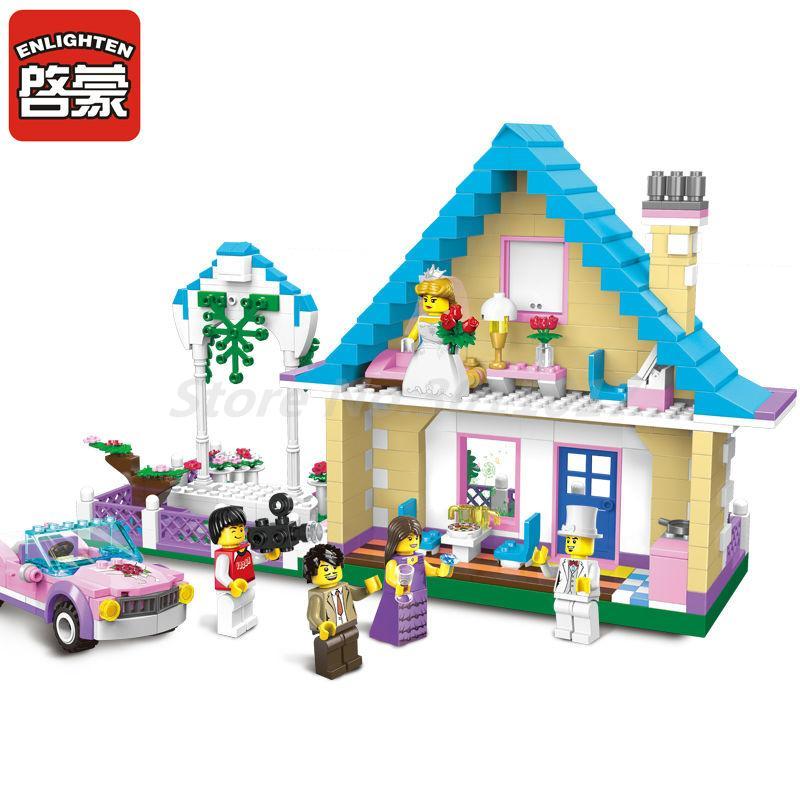 Enlighten 1129 City Marriage Room Villa Wedding Bridegroom Princess Castle Play House Building Blocks Playmobile Kids Toys Gifts