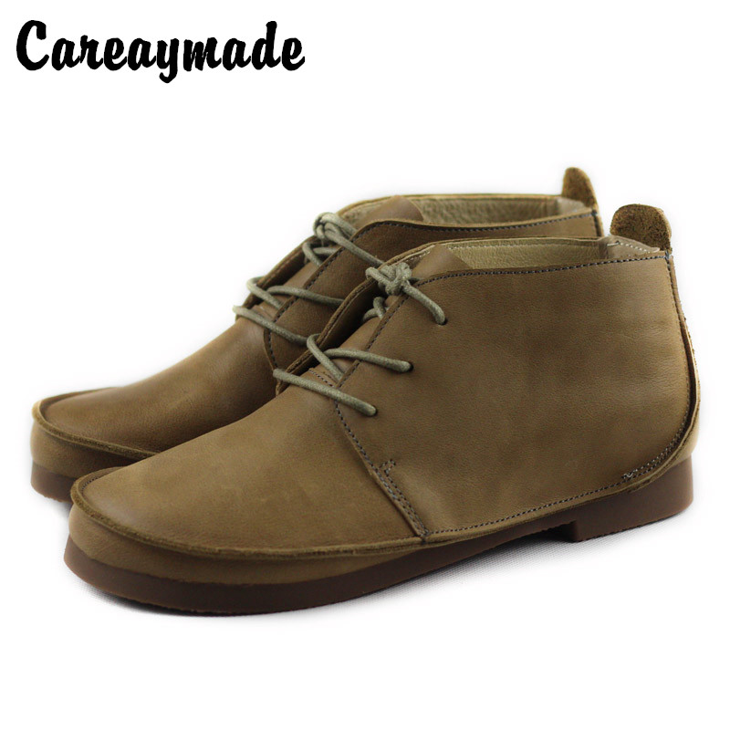 Careaymade-Womens retro style big head Martin boots Spring&autumn casual leather boots,handmade Head layer cowhide shoesCareaymade-Womens retro style big head Martin boots Spring&autumn casual leather boots,handmade Head layer cowhide shoes