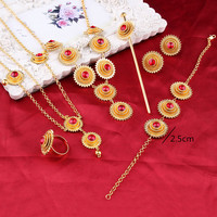 Fashion Habesha Jewelry Ethiopian Jewelry Set 18k Gold Filled Colorful Stone Jewelry African Bridal Jewelry Sets
