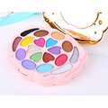 2pcs/set Peacock 18 colors Sweet peach Shimmer Eye Shadow Palette Cute Primer Make Up Kit Blusher Lip gloss Powder brush set